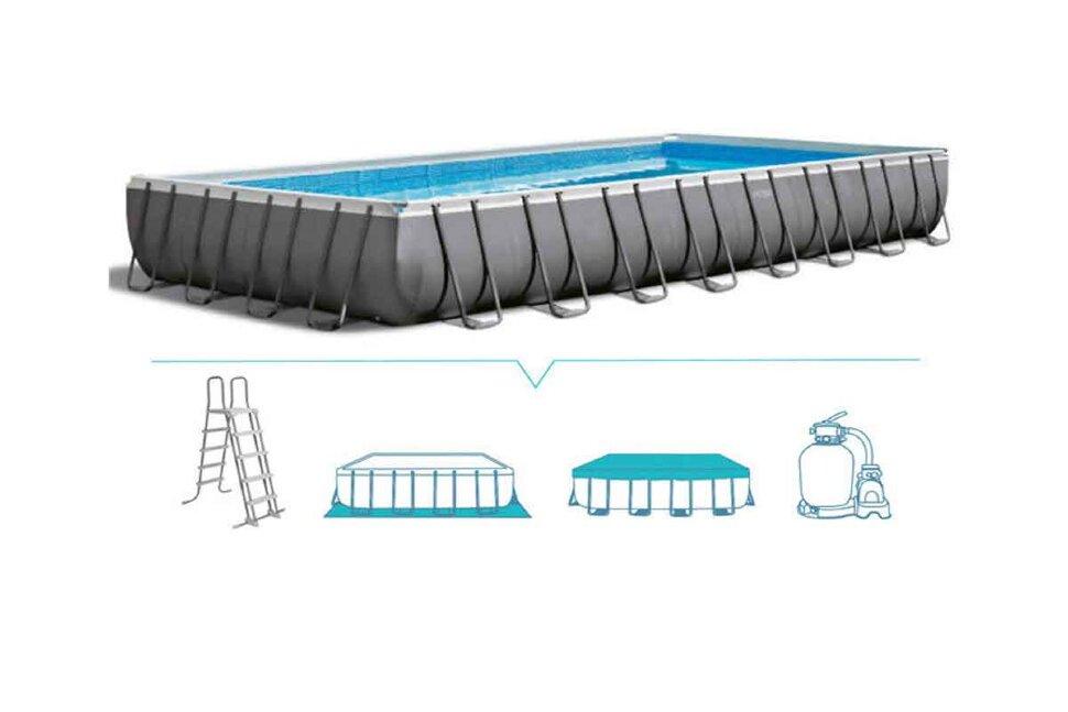 Бассейн каркасный прямоугольный INTEX Ultra XTR Rectangular Frame 26374 + игровые мячи для бассейна в Екатеринбурге