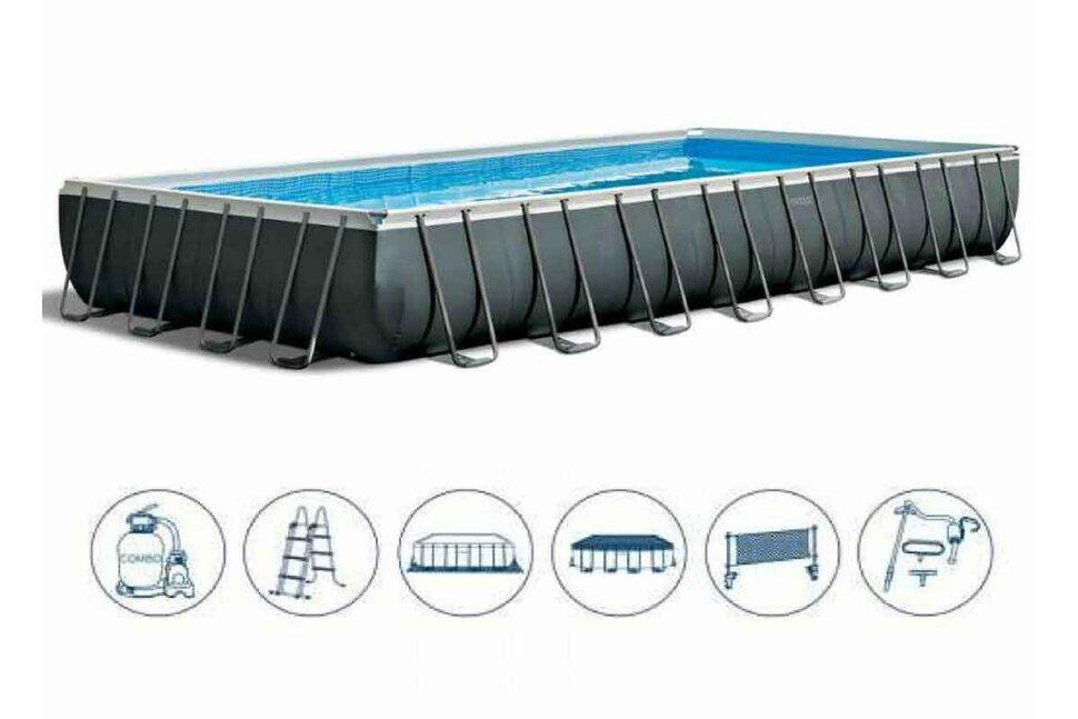 Бассейн каркасный прямоугольный INTEX Ultra XTR Rectangular Frame 26378 + игровые мячи для бассейна в Новосибирске