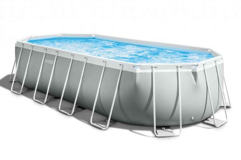 Бассейн каркасный овальный INTEX Prism Frame Oval 26798 + игровые мячи для бассейна в Кемерово