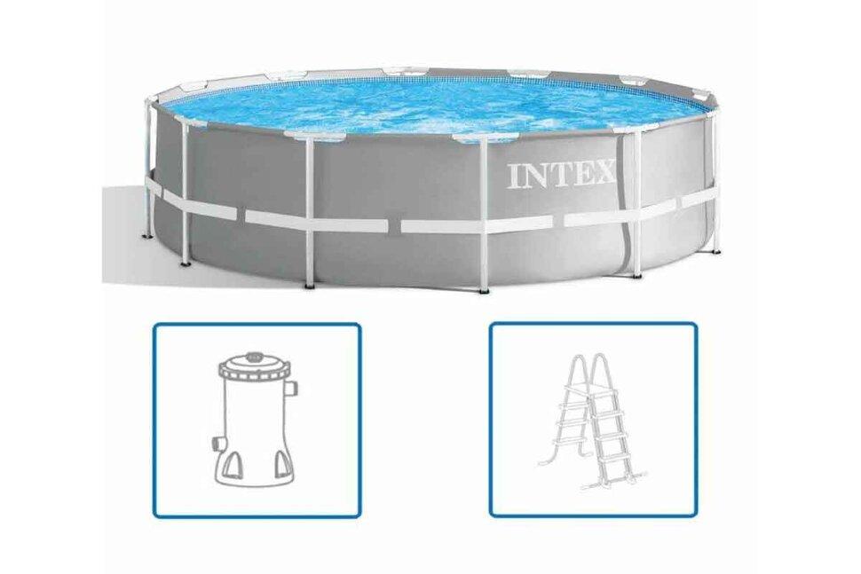 Бассейн каркасный круглый INTEX Prism Frame 26716 + в подарок игровые мячи для бассейна в Перми