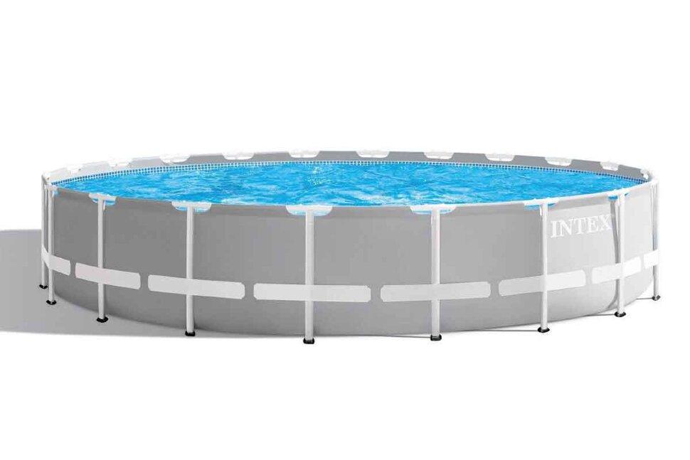 Бассейн каркасный круглый INTEX Prism Frame 26756 + в подарок игровыя мячи для бассейна в Перми
