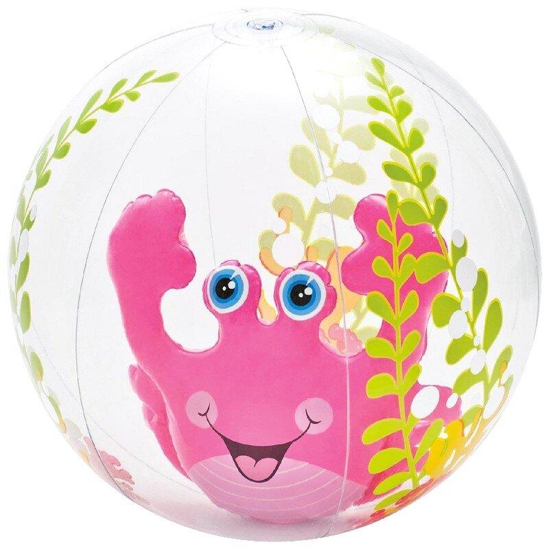 """Прозрачный надувной мяч """"Розовый краб"""" 61 cm. INTEX 58031 в Клину"""