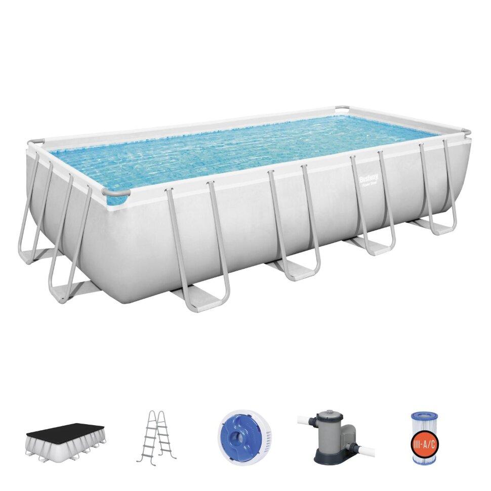 Бассейн каркасный прямоугольный Bestway 56465+ в подарок мячики для игр в бассейне
