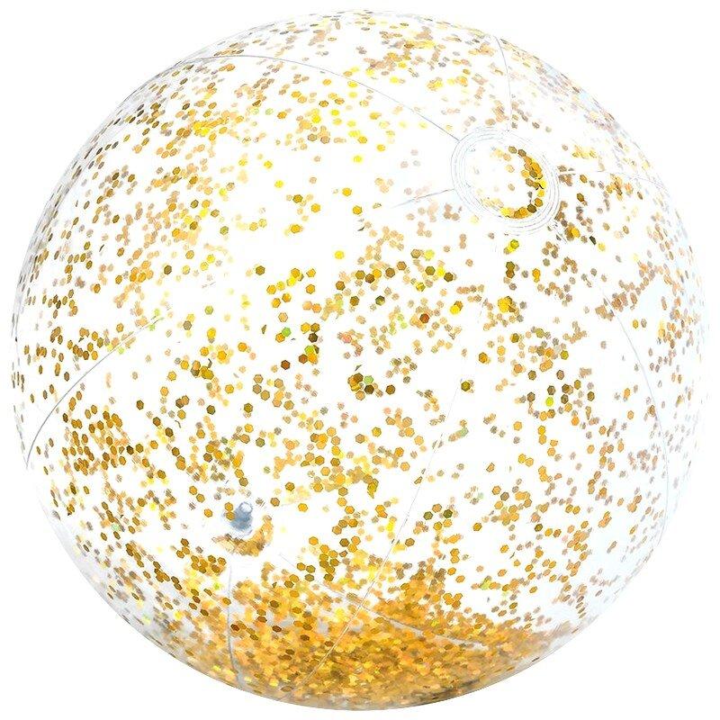 Блестящий надувной пляжный мяч 71 см. INTEX 58070 GOLD в Казани