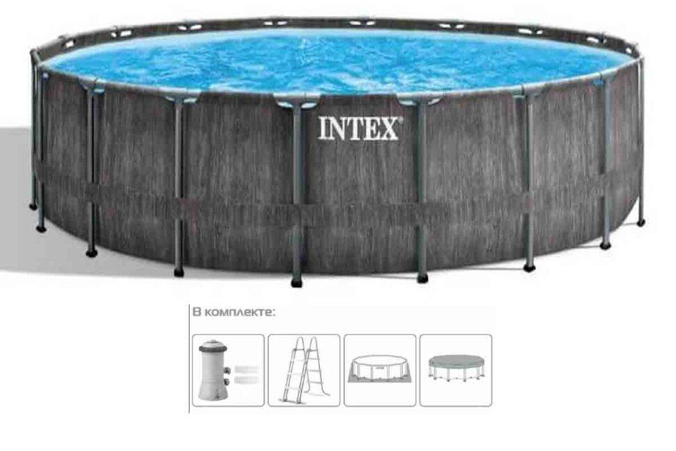 """Каркасный бассейн """"INTEX Grey Wood Prism Frame Premium"""" 26744 в Тюмени"""