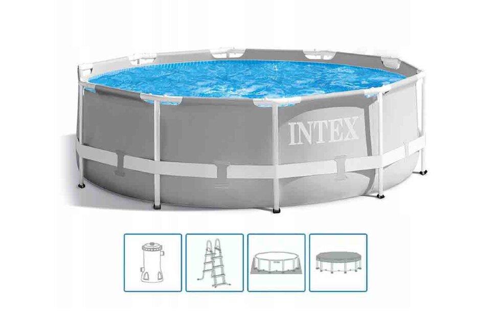 Бассейн каркасный круглый INTEX Prism Frame 26726 + в подарок игровые мячи для бассейна