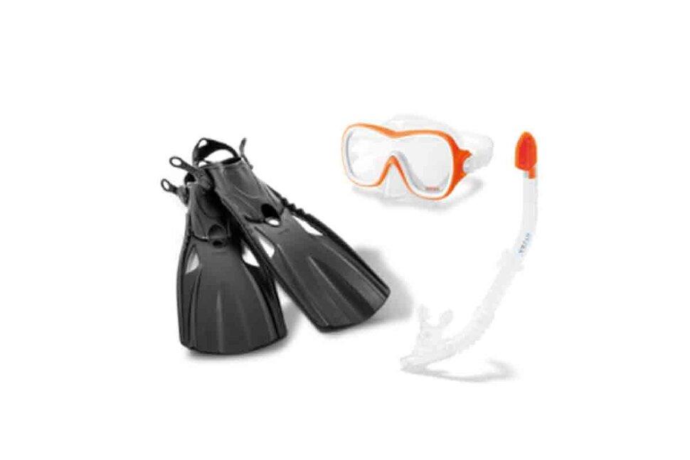 Комплект для плавания: маска, трубка, ласты INTEX 55658