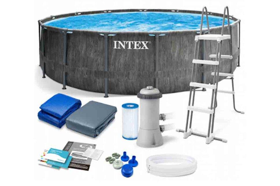 """Каркасный бассейн """"INTEX Grey Wood Prism Frame Premium"""" 26742"""
