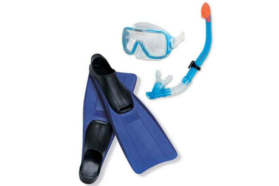 Комплект для плавания: маска, трубка, ласты INTEX 55958